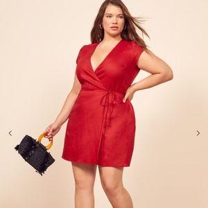 NWT REFORMATION Red Rodin Mini Wrap Dress 1X